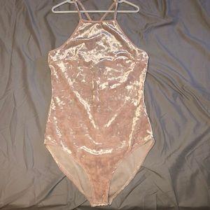 Light Pink Velvet Body Suit